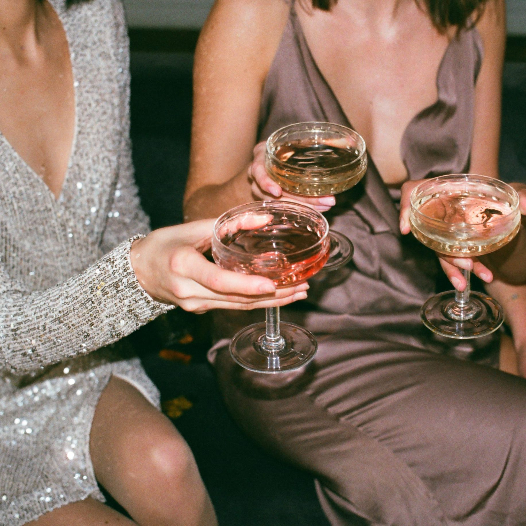 CBD and celebrities friends holding champagne glass